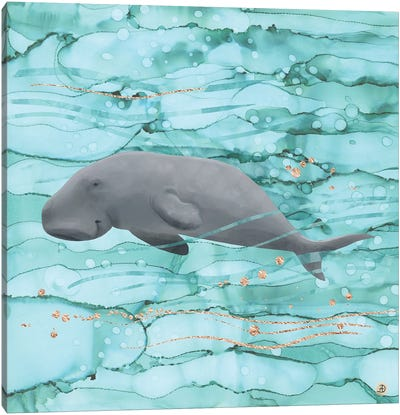 Cute Dugong Swimming Underwater Canvas Art Print