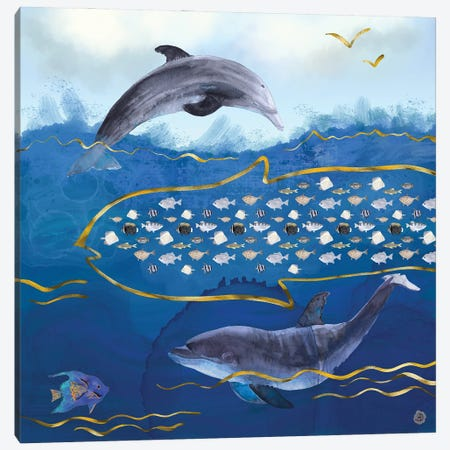 Dolphins Hunting Fish - Surreal Seascape Canvas Print #AEE15} by Andreea Dumez Canvas Wall Art