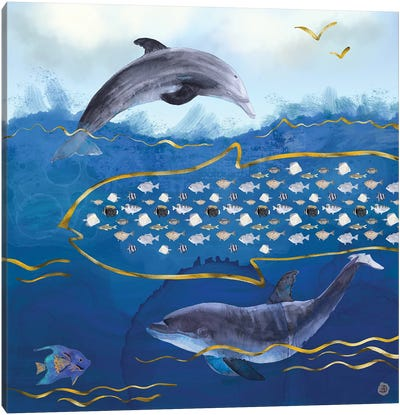 Dolphins Hunting Fish - Surreal Seascape Canvas Art Print