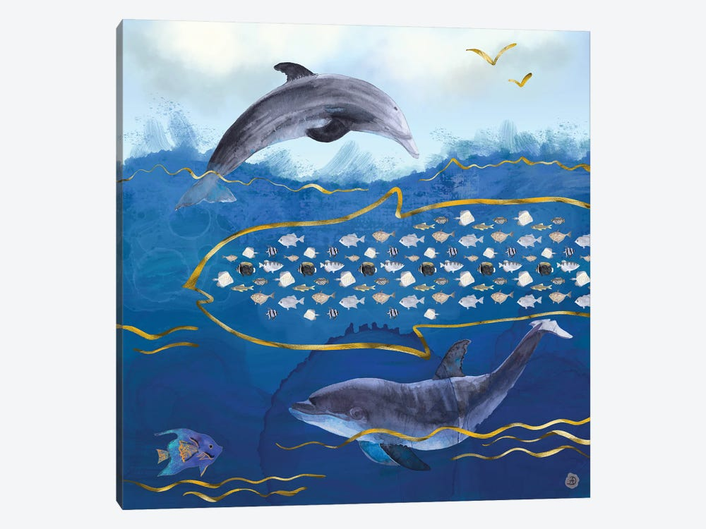 Dolphins Hunting Fish - Surreal Seascape by Andreea Dumez 1-piece Canvas Wall Art