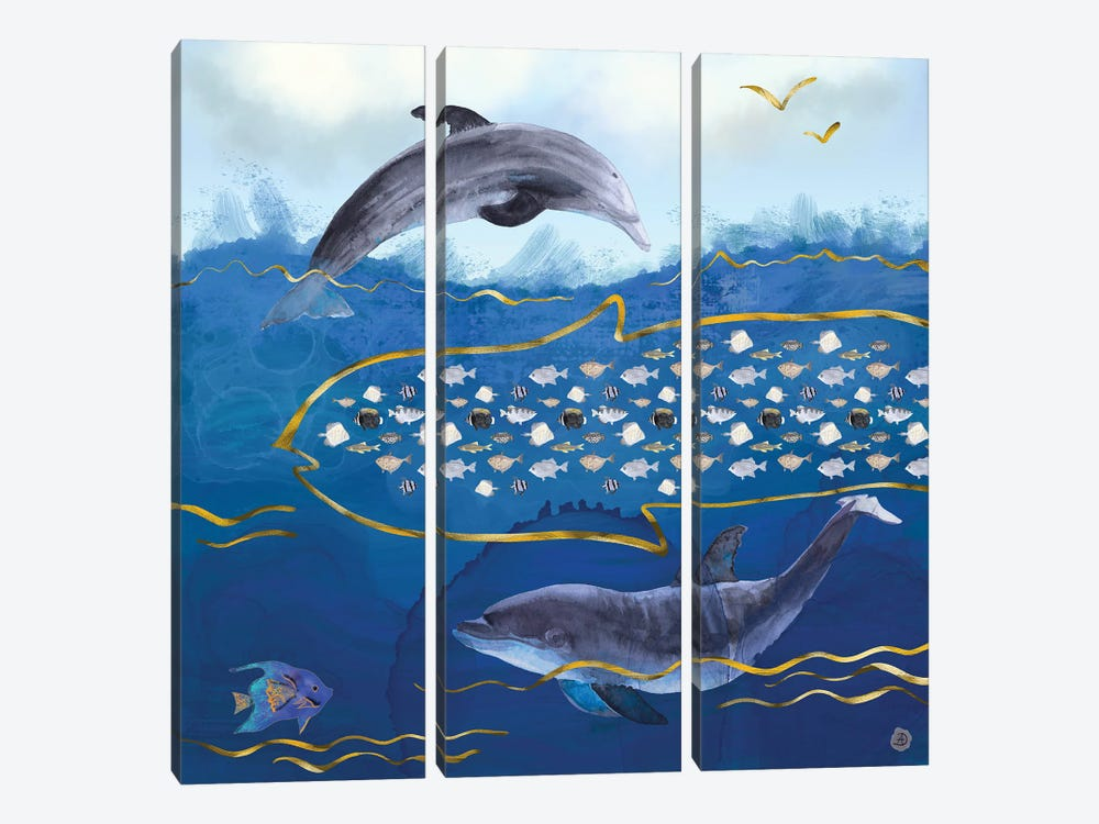 Dolphins Hunting Fish - Surreal Seascape by Andreea Dumez 3-piece Canvas Artwork