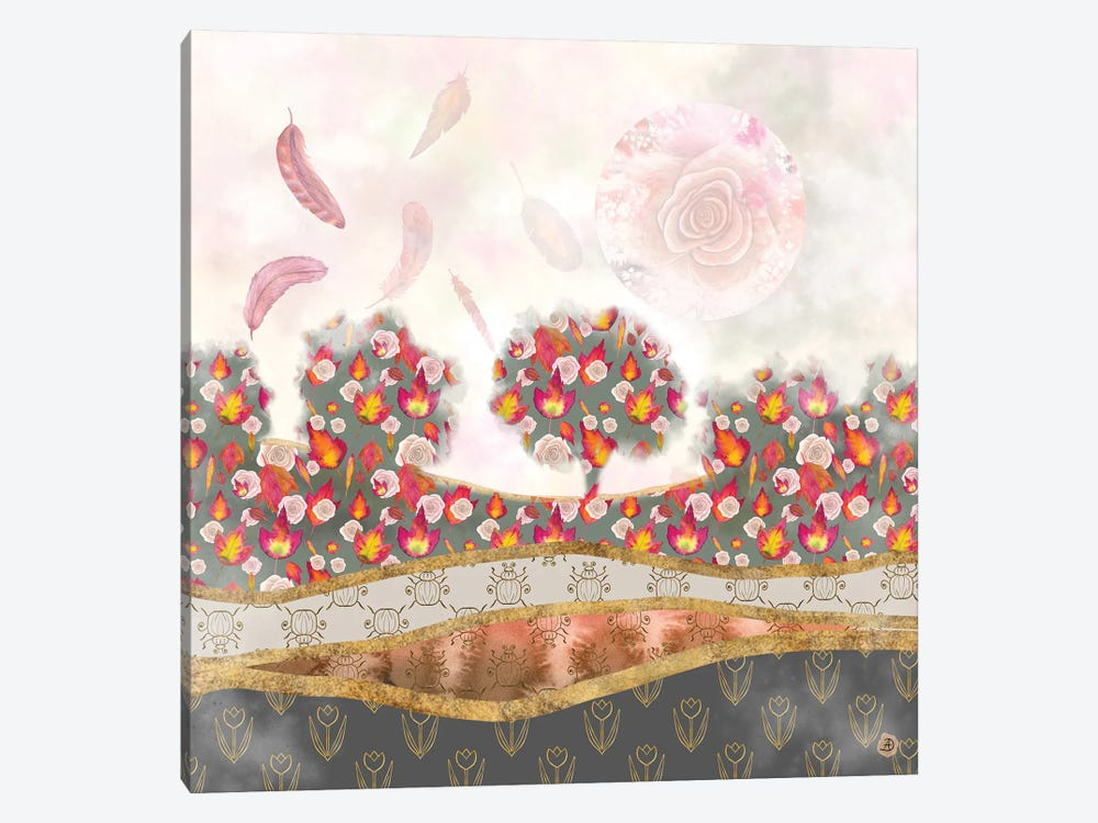 Falling Feathers And Roses - Autumn Palette by Andreea Dumez 1-piece Canvas Print