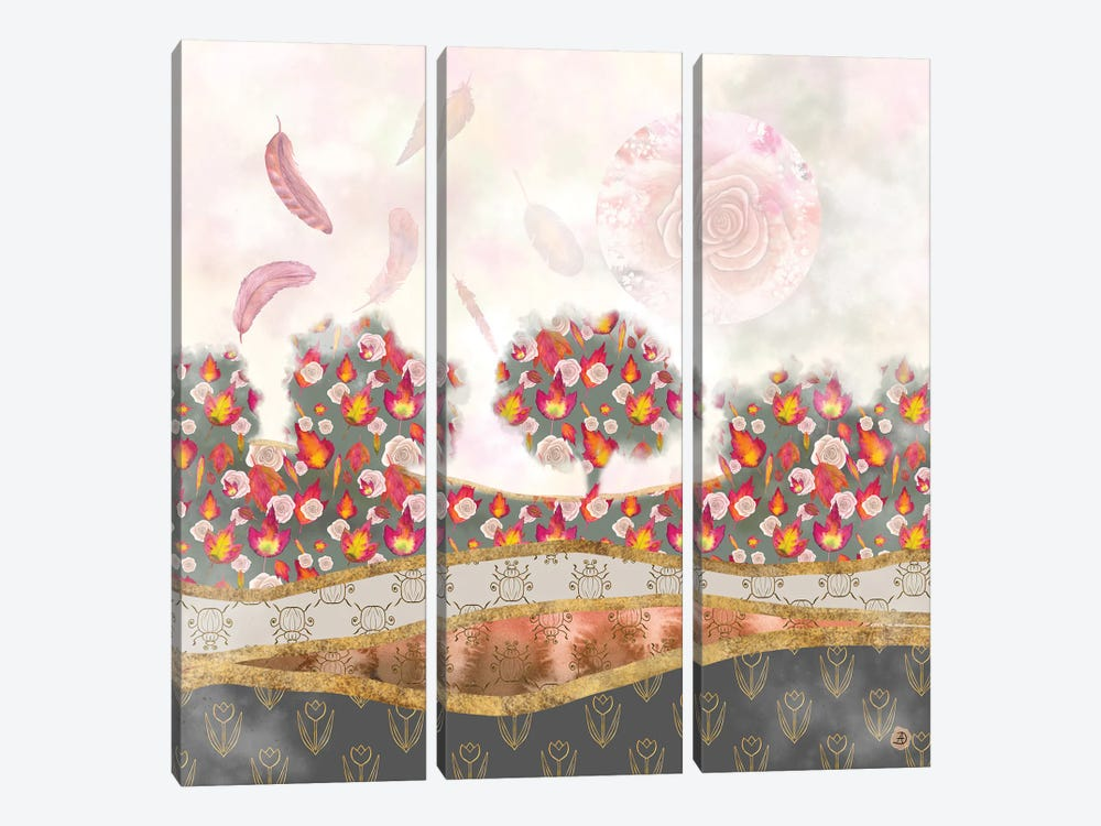 Falling Feathers And Roses - Autumn Palette by Andreea Dumez 3-piece Art Print