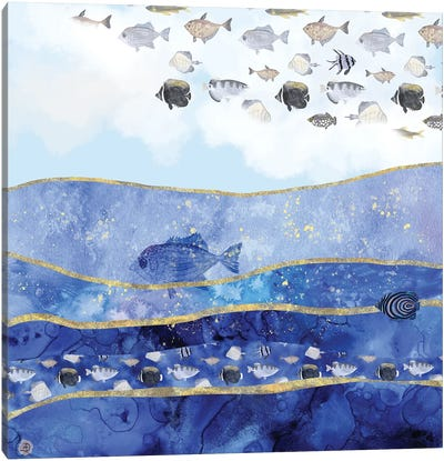 Fish In The Sky - A Surreal Dream Canvas Art Print