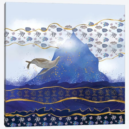 Flying Sea Lion Over Rising Oceans - Surreal Climate Change Canvas Print #AEE19} by Andreea Dumez Canvas Art Print