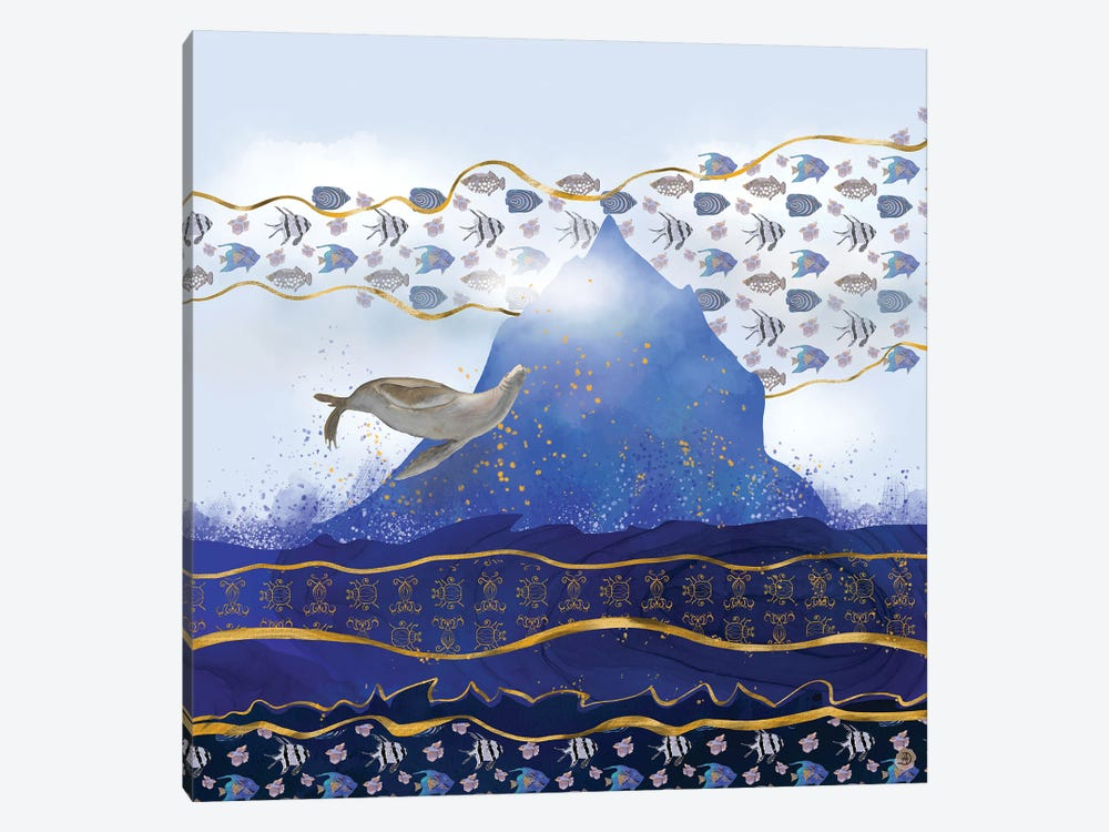 Flying Sea Lion Over Rising Oceans - Surreal Climate Change by Andreea Dumez 1-piece Canvas Artwork