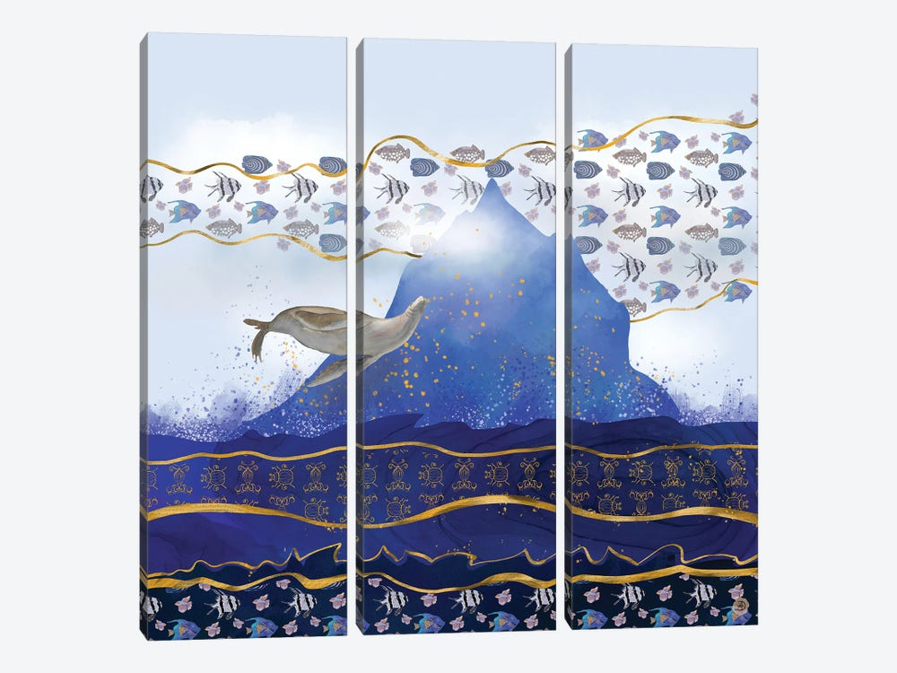 Flying Sea Lion Over Rising Oceans - Surreal Climate Change by Andreea Dumez 3-piece Canvas Artwork