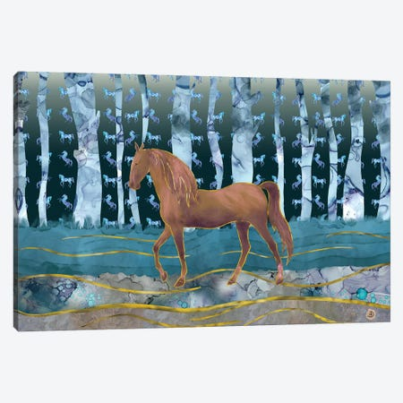 A Wild Horse In A Forest Of Dreams Canvas Print #AEE1} by Andreea Dumez Canvas Wall Art