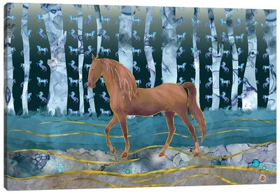 A Wild Horse In A Forest Of Dreams Canvas Art Print