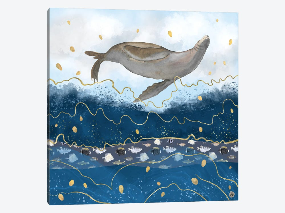 Flying Sea Lion Over Rising Waters - Surreal Climate Change by Andreea Dumez 1-piece Canvas Wall Art