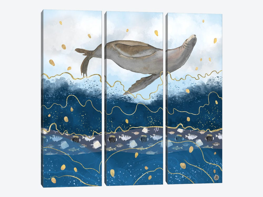 Flying Sea Lion Over Rising Waters - Surreal Climate Change by Andreea Dumez 3-piece Canvas Art