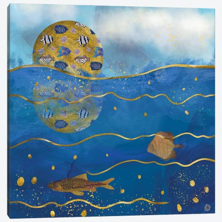 Golden Moon Over The Ocean - Surrealist Dreams Canvas Print #AEE21} by Andreea Dumez Canvas Art