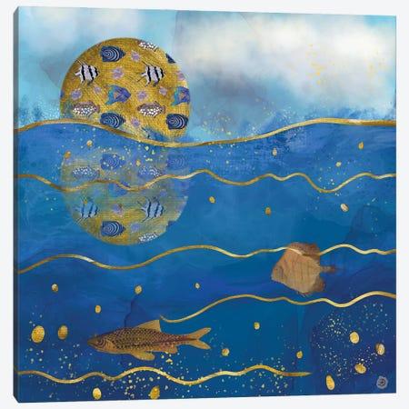 Golden Moon Over The Ocean - Surrealist Dreams Canvas Print #AEE21} by Andreea Dumez Canvas Art