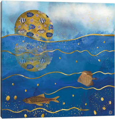 Golden Moon Over The Ocean - Surrealist Dreams Canvas Art Print