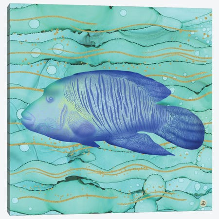 Humphead Wrasse Exotic Fish Swimming In The Coral Reef Emerald Water Canvas Print #AEE22} by Andreea Dumez Canvas Artwork