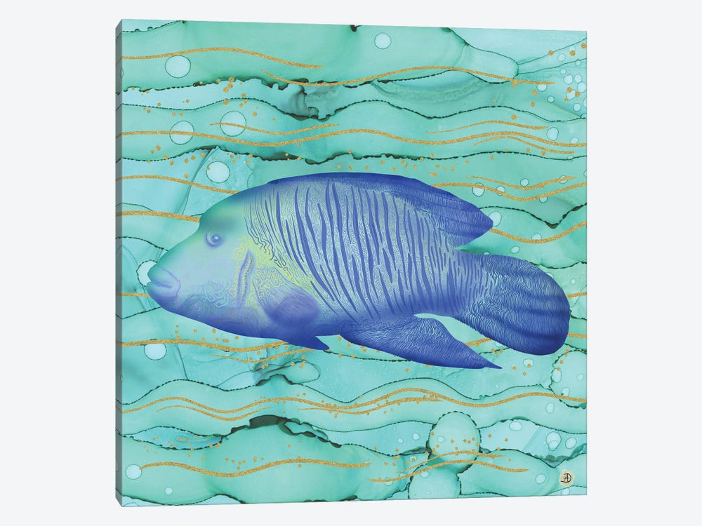 Humphead Wrasse Exotic Fish Swimming In The Coral Reef Emerald Water by Andreea Dumez 1-piece Canvas Art
