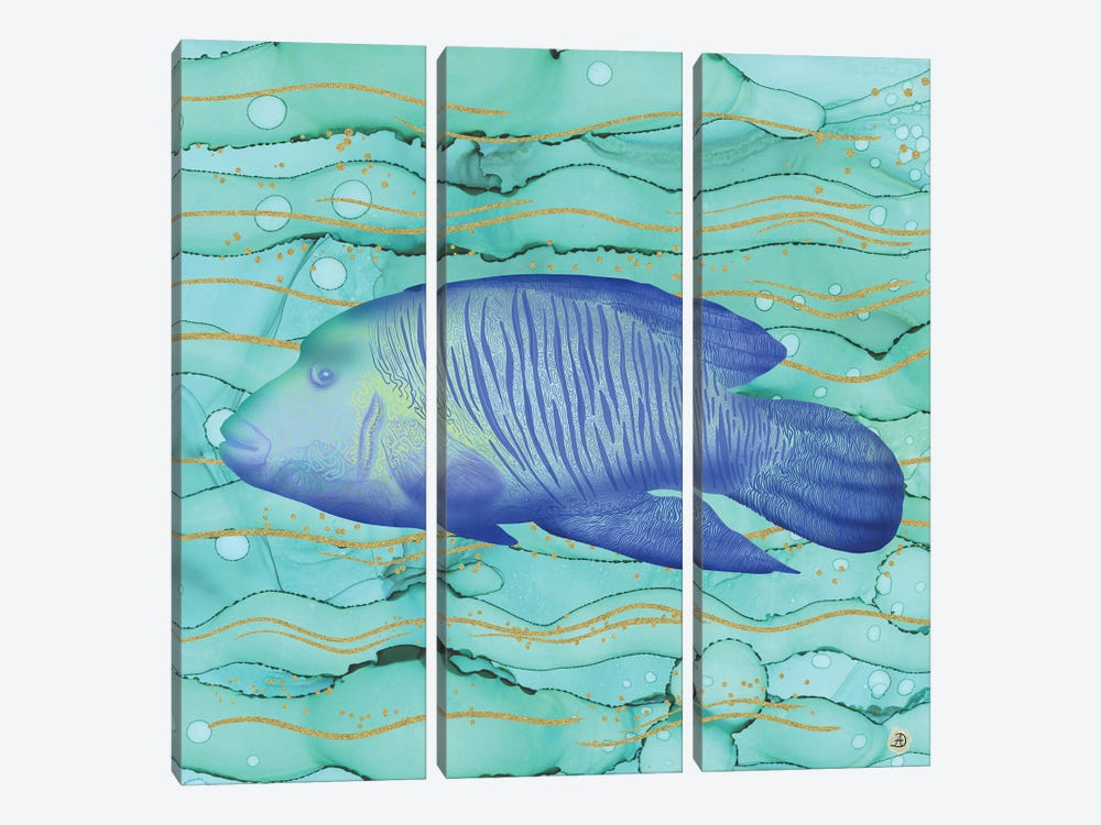 Humphead Wrasse Exotic Fish Swimming In The Coral Reef Emerald Water by Andreea Dumez 3-piece Canvas Artwork