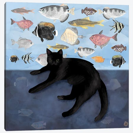 The Black Cat Watching The Fish Tank Canvas Print #AEE23} by Andreea Dumez Canvas Wall Art
