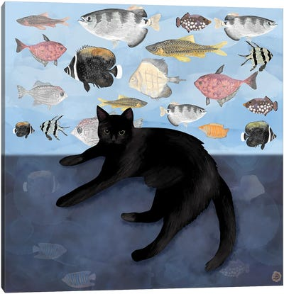 The Black Cat Watching The Fish Tank Canvas Art Print