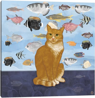 Kitty Dreams - Watching The Fish Tank Canvas Art Print