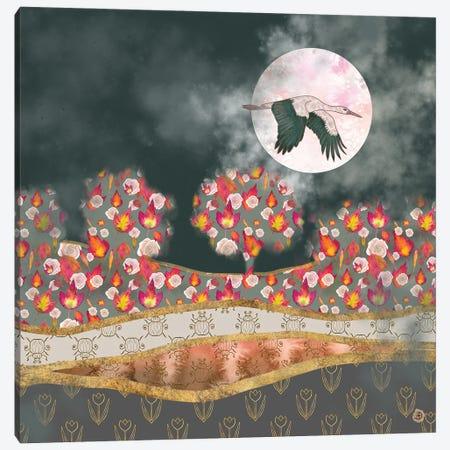 Moonlight Stork Canvas Print #AEE26} by Andreea Dumez Canvas Art Print