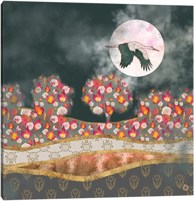 Moonlight Stork Canvas Art Print