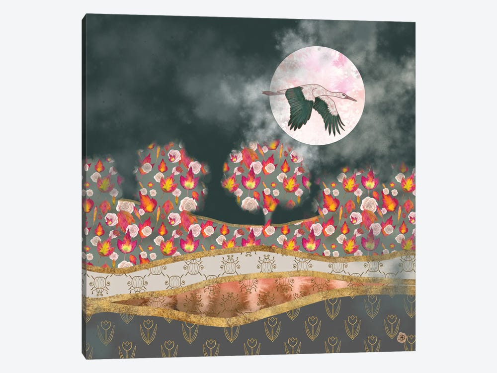 Moonlight Stork by Andreea Dumez 1-piece Canvas Wall Art