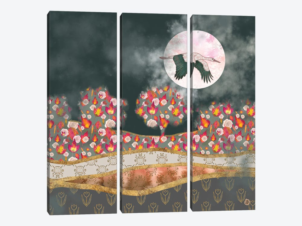 Moonlight Stork by Andreea Dumez 3-piece Canvas Art