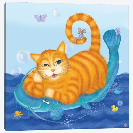 Orange Tabby Cat And Blue Catfish Canvas Print #AEE32} by Andreea Dumez Canvas Art Print