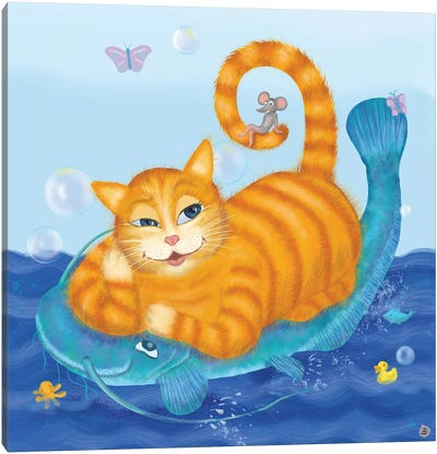 Orange Tabby Cat And Blue Catfish Canvas Art Print