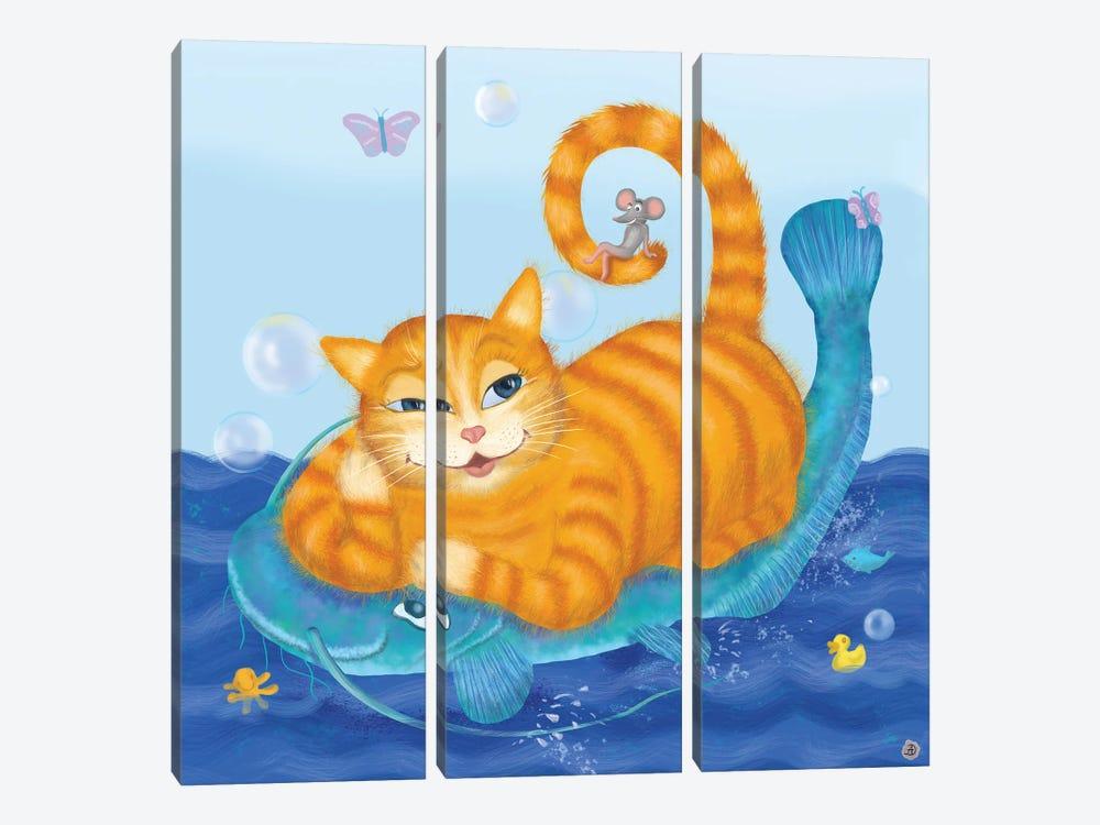 Orange Tabby Cat And Blue Catfish by Andreea Dumez 3-piece Canvas Art Print