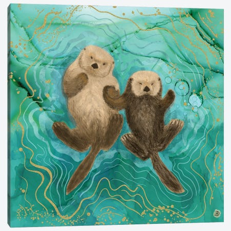 Otters Holding Paws, Floating In Emerald Waters Canvas Print #AEE33} by Andreea Dumez Art Print