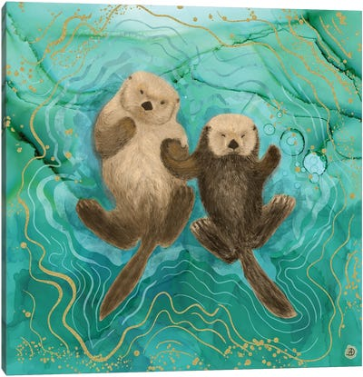 Otters Holding Paws, Floating In Emerald Waters Canvas Art Print