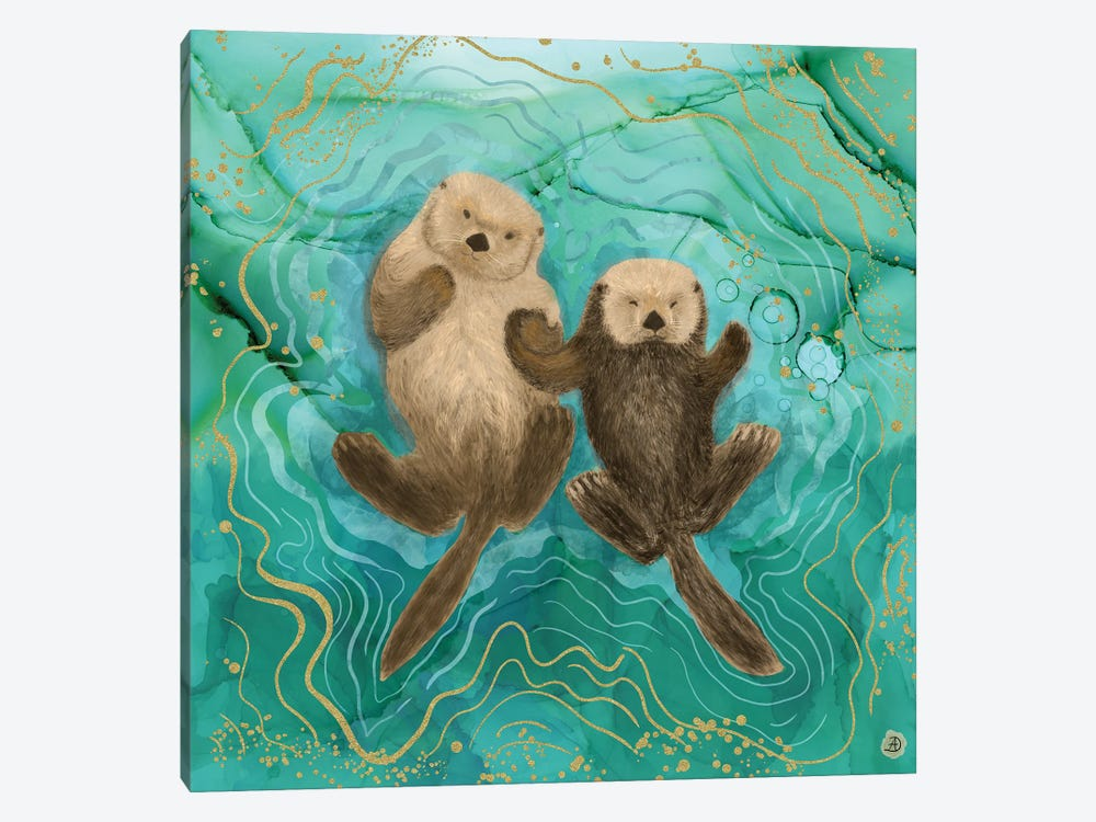 Otters Holding Paws, Floating In Emerald Waters by Andreea Dumez 1-piece Canvas Artwork