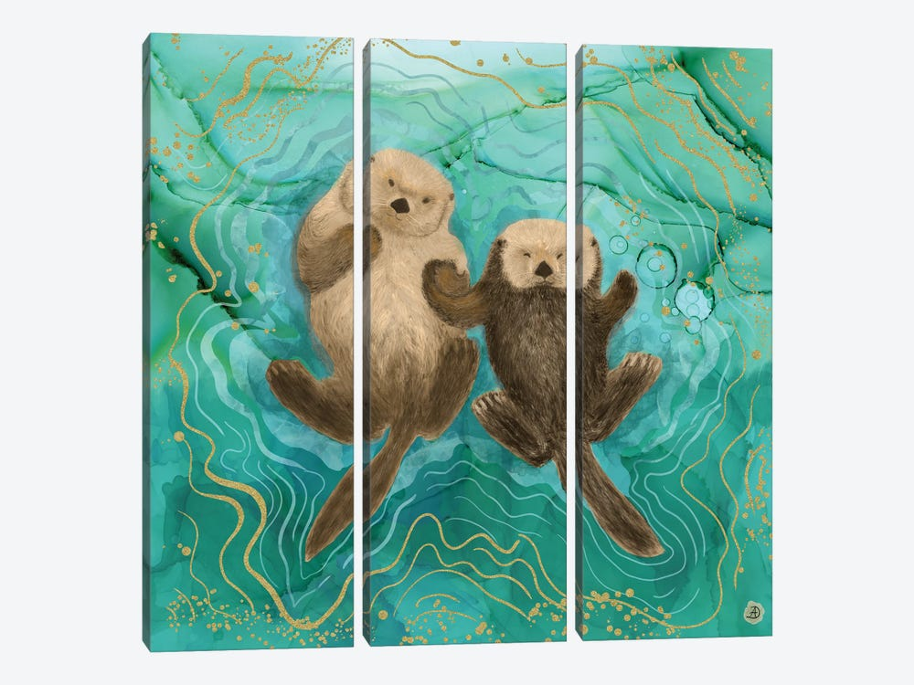 Otters Holding Paws, Floating In Emerald Waters by Andreea Dumez 3-piece Canvas Art