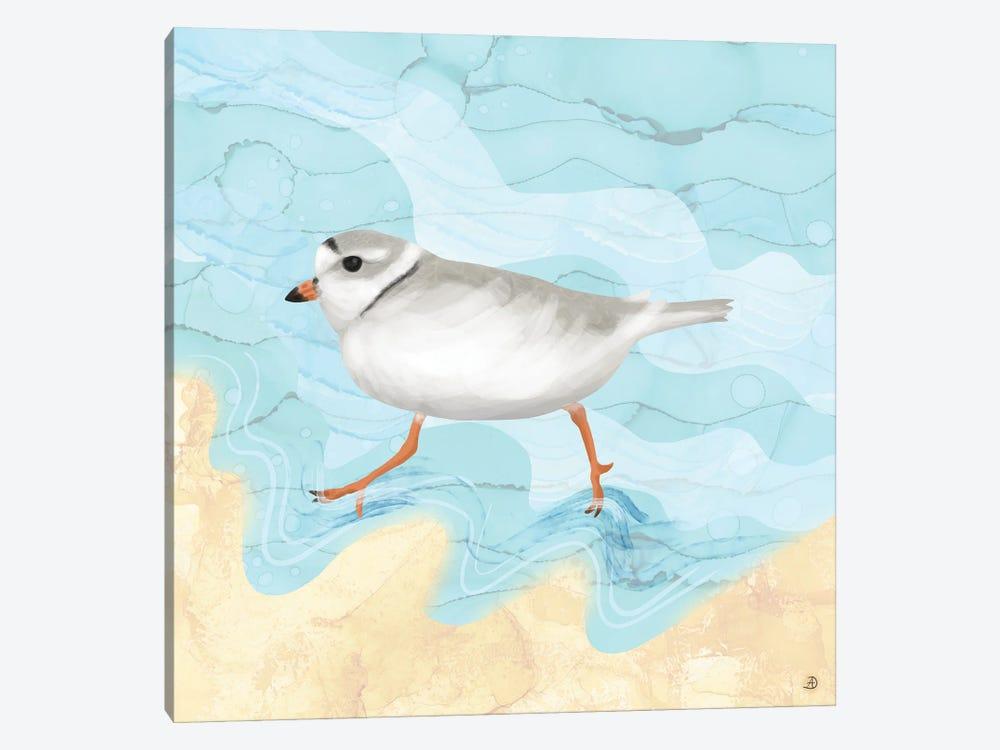 Piping Plover Running On The Beach by Andreea Dumez 1-piece Canvas Art