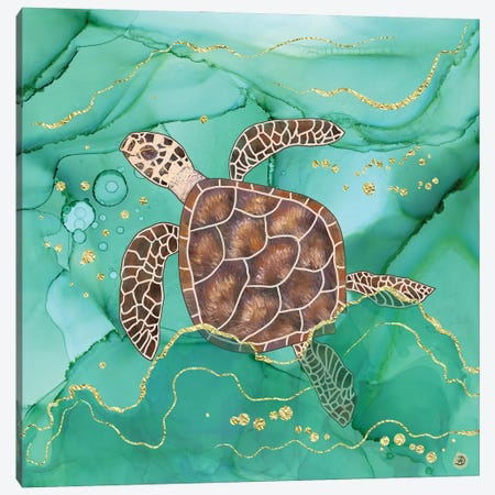 Precious Hawksbill Turtle Swimming In The Emerald Ocean Canvas Print #AEE36} by Andreea Dumez Canvas Wall Art