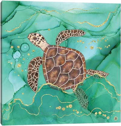 Precious Hawksbill Turtle Swimming In The Emerald Ocean Canvas Art Print