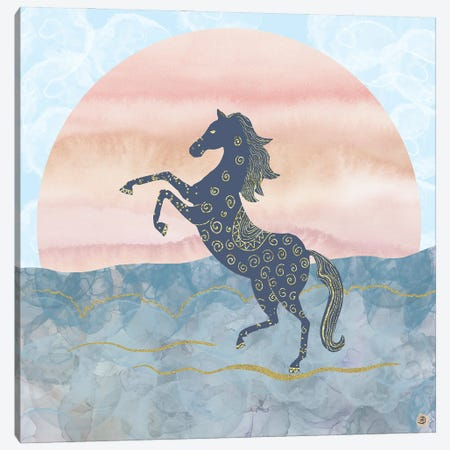 Rearing Horse In The Morning Sunrise Canvas Print #AEE37} by Andreea Dumez Canvas Artwork
