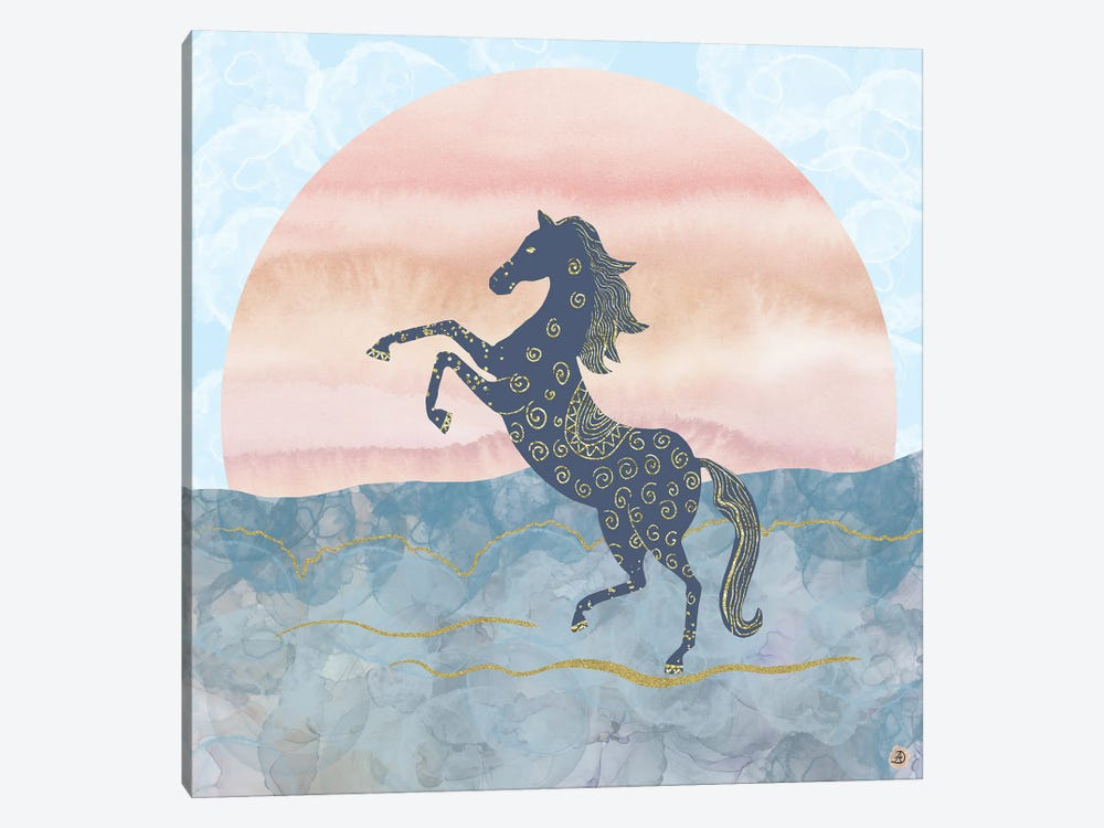 Rearing Horse In The Morning Sunrise by Andreea Dumez 1-piece Canvas Wall Art