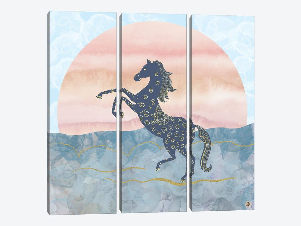 Rearing Horse In The Morning Sunrise by Andreea Dumez 3-piece Canvas Wall Art