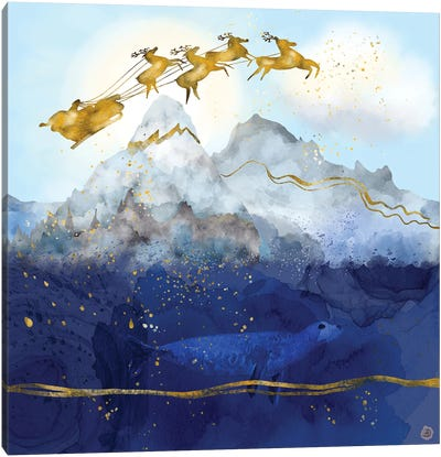 Santa Claus And His Reindeer Over The North Pole Canvas Art Print
