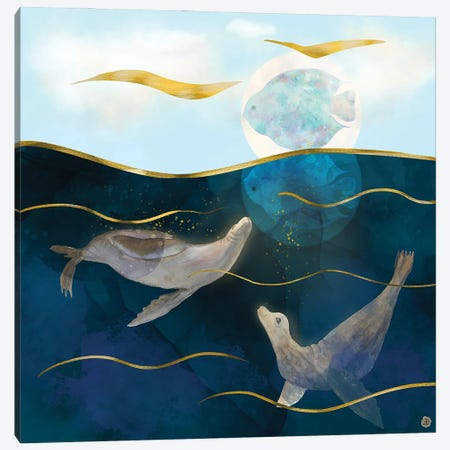 Sea Lions Playing With The Moon - Underwater Dreams Canvas Print #AEE39} by Andreea Dumez Canvas Print