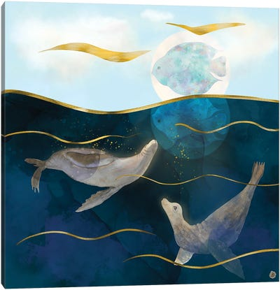 Sea Lions Playing With The Moon - Underwater Dreams Canvas Art Print
