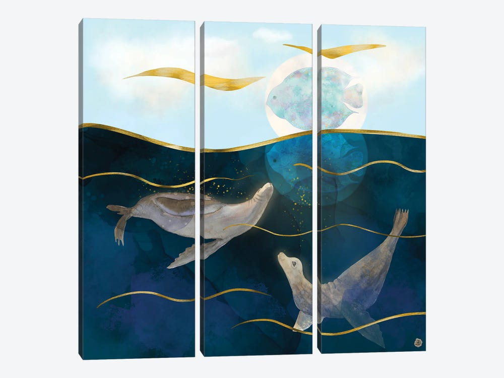 Sea Lions Playing With The Moon - Underwater Dreams by Andreea Dumez 3-piece Canvas Art