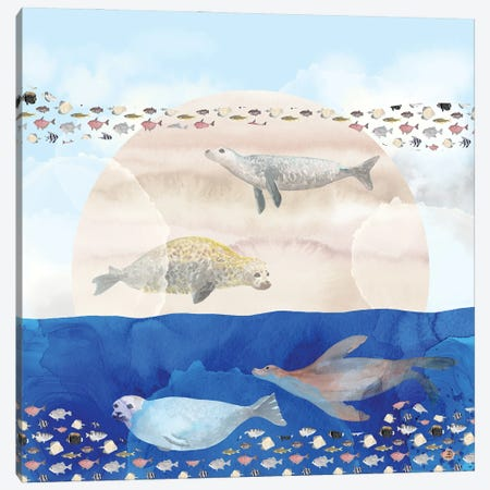 Seals, Sand, Ocean - Surrealist Dreams Canvas Print #AEE41} by Andreea Dumez Canvas Wall Art
