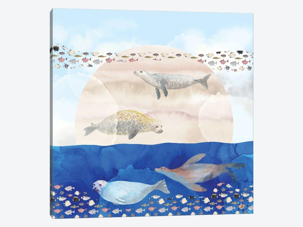 Seals, Sand, Ocean - Surrealist Dreams by Andreea Dumez 1-piece Art Print