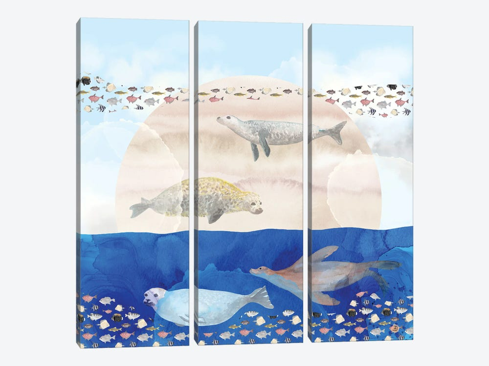 Seals, Sand, Ocean - Surrealist Dreams by Andreea Dumez 3-piece Canvas Print