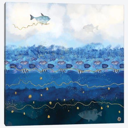 Sky Fish - Warming Oceans And Sea Levels Rising Canvas Print #AEE42} by Andreea Dumez Canvas Wall Art