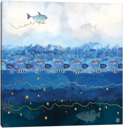 Sky Fish - Warming Oceans And Sea Levels Rising Canvas Art Print